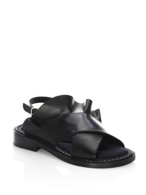 Robert Clergerie Ruffle Leather Sandals In Black