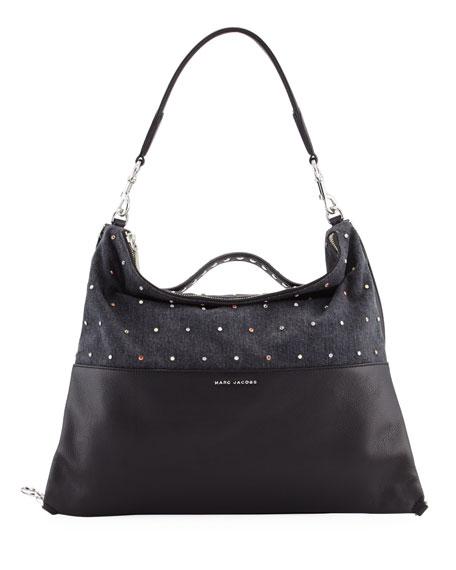 Marc Jacobs The Grip Embellished Shoulder Bag, Black