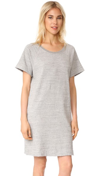 James Perse Garment Dyed Cotton T-shirt Dress In Heather Grey
