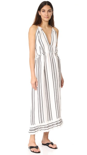 Apiece Apart Himalaya Striped Linen And Silk-blend Maxi Dress In Black And White
