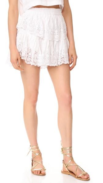 Loveshackfancy Prairie Lace Ruffle Miniskirt In White