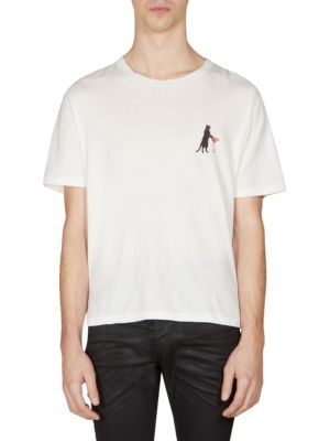 Saint Laurent Cat Martini Cotton Tee In Multi