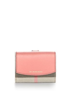 Burberry Luna House Check Derby Cotton Wallet In Cinnamon Rose