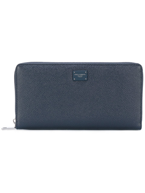 Dolce & Gabbana Logo Embroidered Wallet - Blue