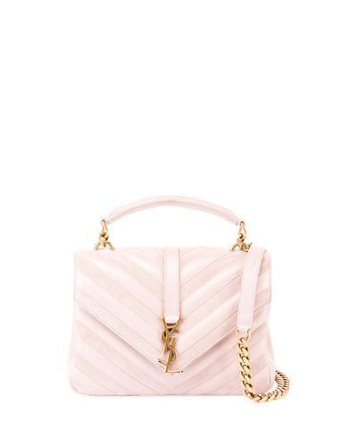 Saint Laurent Medium College Patchwork Suede & Leather Shoulder Bag - Pink