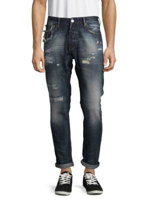 Scotch & Soda Dean Distressed Cotton Jeans In Hero Blue