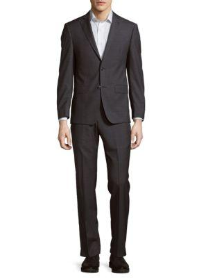 Michael Kors Solid Structured Suit In Charcoal