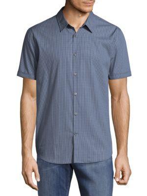 John Varvatos Gingham Button-down Shirt In Stream Blue