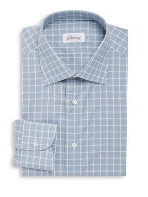 Brioni Plaid Print Cotton Dress Shirt In Light Grey