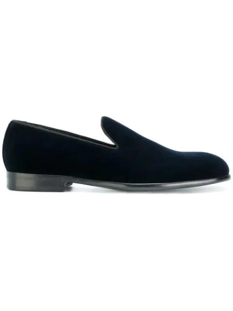 Dolce & Gabbana 'Milan' Samt-Slipper In Blue