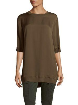 Vince Rib Trimmed Crewneck Tunic In Fatigue