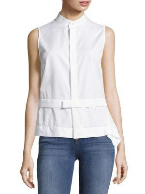 Dsquared2 Plain Sleeveless Cotton Top In Bianco