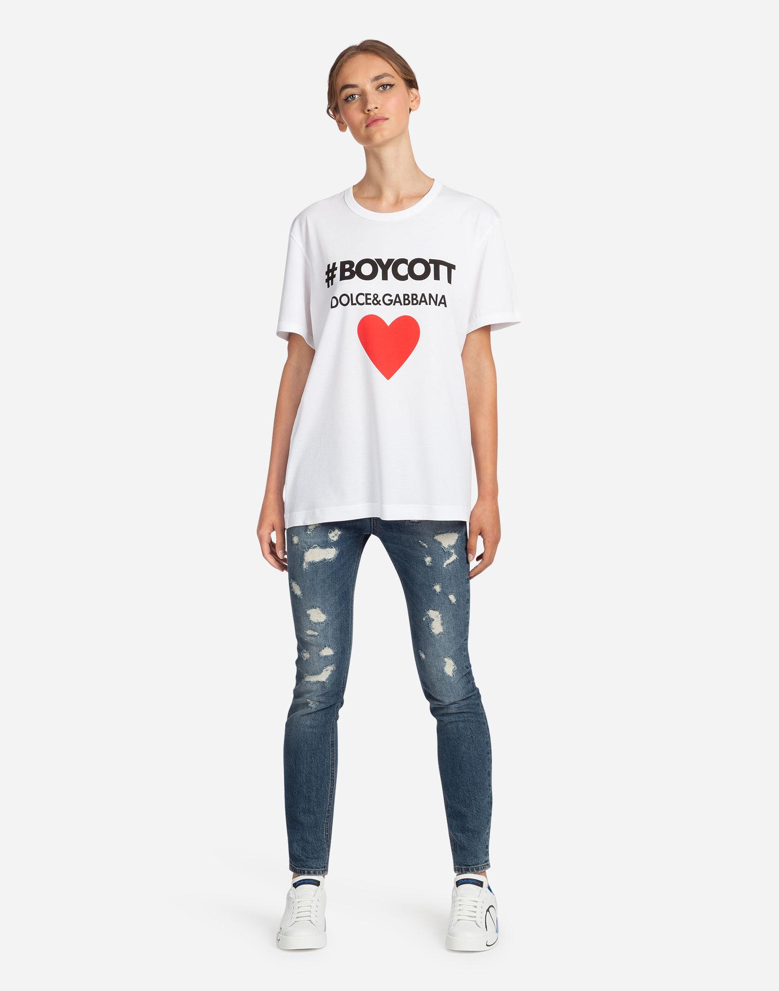 Dolce & Gabbana Boycott Printed Cotton Jersey T-shirt In White