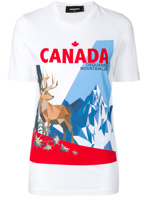 Dsquared2 Canada Mountain Print T-shirt In White
