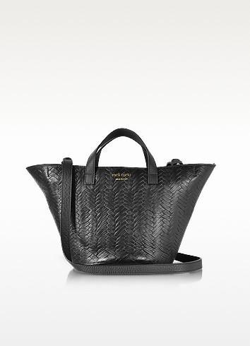 Meli Melo Black Woven Leather Rosalia Mini Cross Body Bag