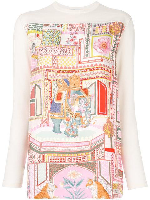 Salvatore Ferragamo Wool Knit & Printed Silk Twill Tunic In Off White