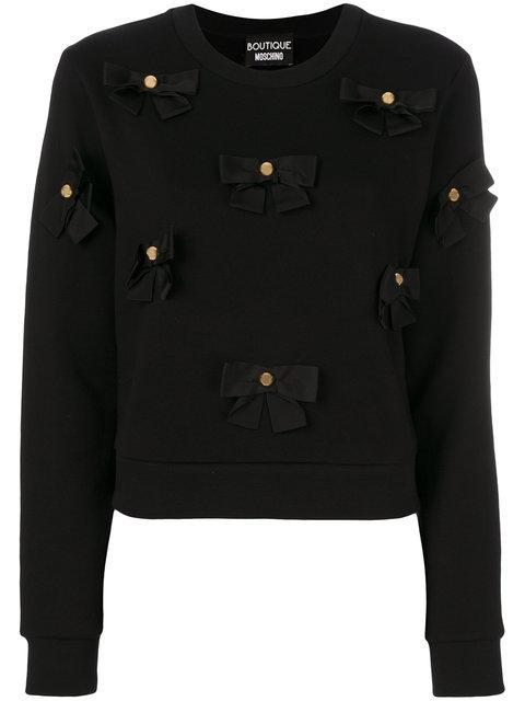 Boutique Moschino Bows Applique Sweatshirt In Black