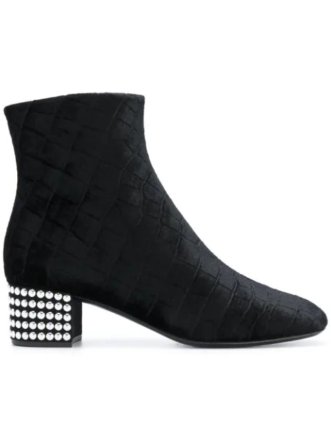 b9eba8a9ba3ce Giuseppe Zanotti Quilted Velvet Ankle Boots With Embellished Heel In Black