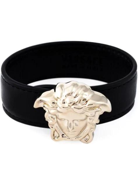 Versace Black Leather Bracelet W/light Gold Metal Medusa
