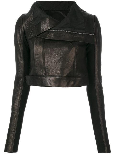 Rick Owens Cropped Leather Biker Jacket In Black