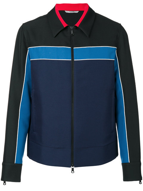 Valentino Colour-blocked Coach Jacket In Black