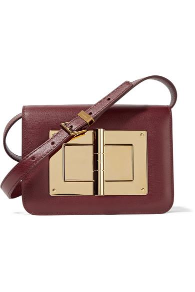 Tom Ford Woman Natalia Small Leather Shoulder Bag Burgundy