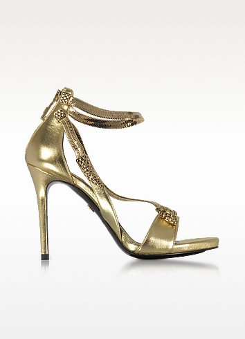 Roberto Cavalli Golden Laminated Leather High Heel Snake Sandals