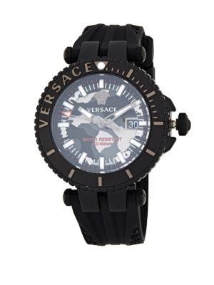 Versace Stainless Steel Watch In Black