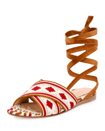 Gianvito Rossi Geometric-embroidered Ankle-wrap Flat Sandal, Brown/white In Multiple Colors