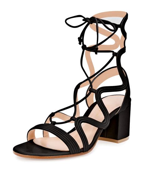 Gianvito Rossi Loop-caged Low-heel Gladiator Sandal, Black In White