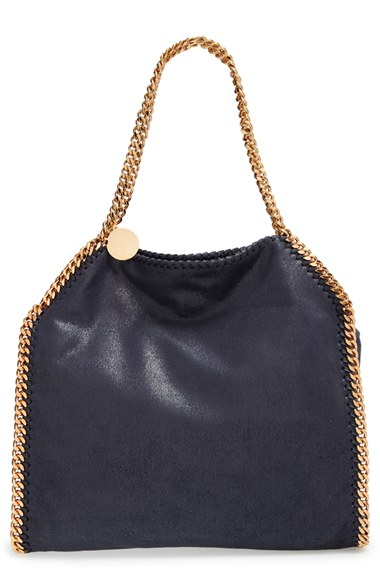 Stella Mccartney 'small Falabella - Shaggy Deer' Faux Leather Tote - Blue In Navy With Gold