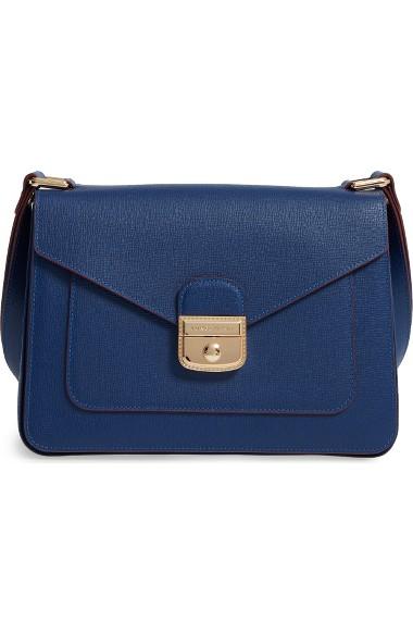Le Pliage Heritage Leather Shoulder Bag In Indigo