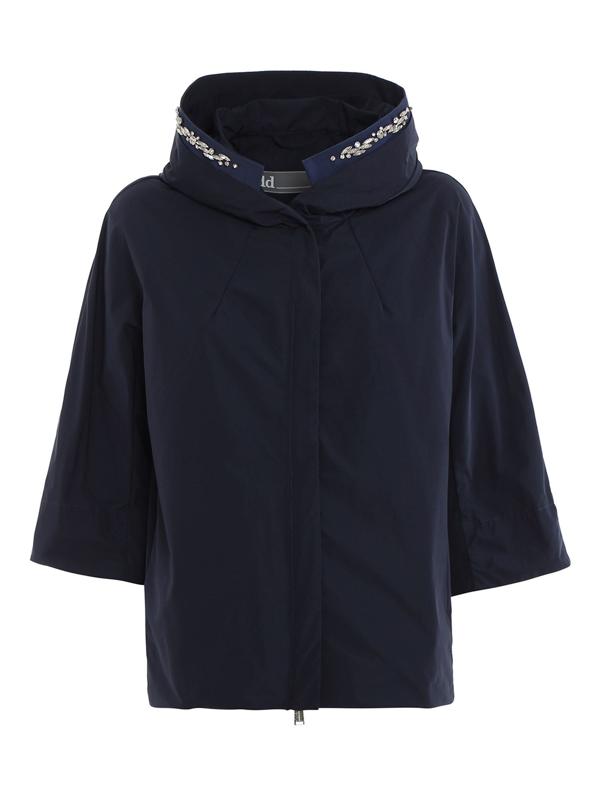 Add Waterproof Jacket With Rhinestones In Blue