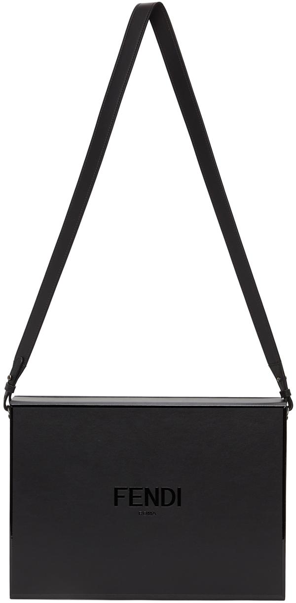 Fendi Black Messenger Box Bag In F1z35 - Ner