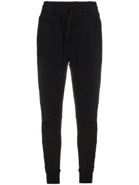 Haider Ackermann Woman Cropped Frayed Twill-Paneled Cotton-Terry Track Pants Anthracite In Black