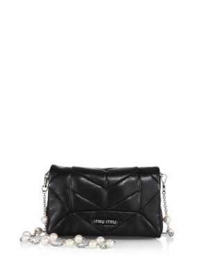 c2e7d16413a5 Miu Miu Pattina Orchidea Leather Convertible Clutch In Nero