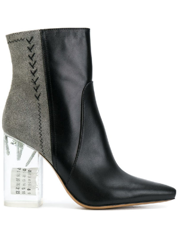 Maison Margiela Acrylic-Heel Leather & Suede Ankle Boots In Black
