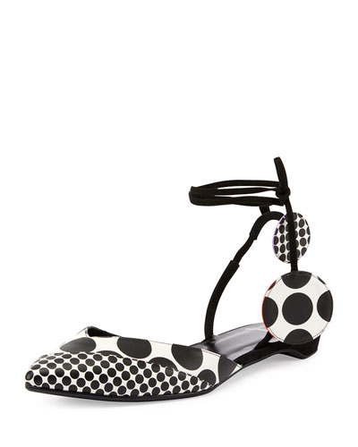 Pierre Hardy Lola Dot-print D'orsay Flat, Black/white