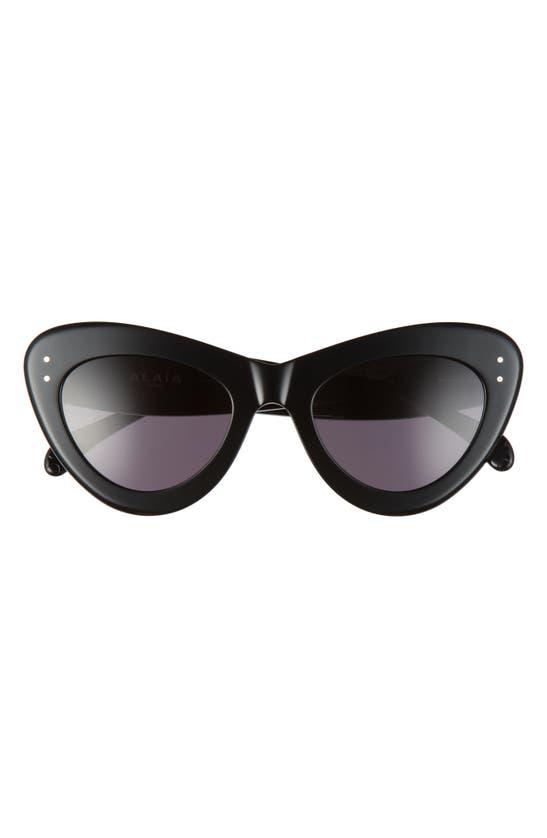 Alaïa 52mm Cat Eye Sunglasses In Black/ Grey