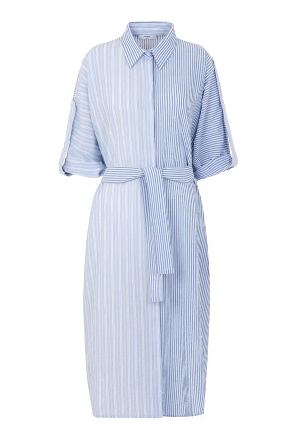 A-line Long Shirt Dress In Blue