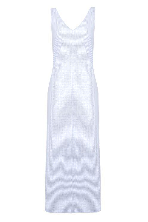 A-line Striped Maxi Slip Dress In Blue