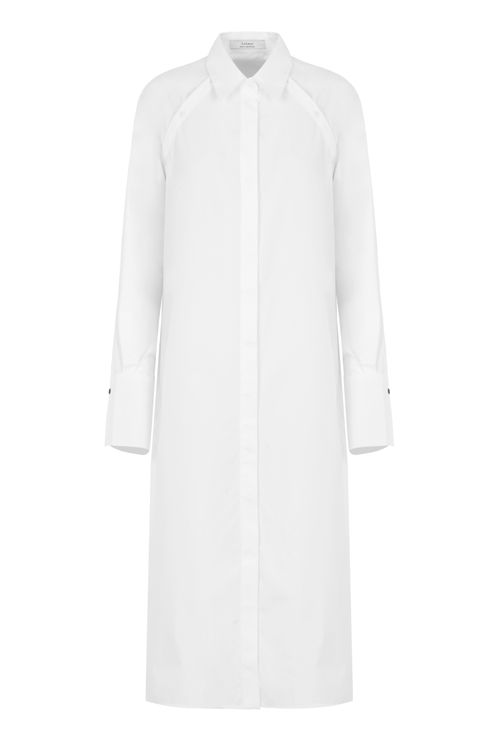 A-line Sleeve(less) Dress Shirt In White