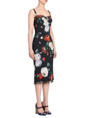 f9741d52aa Dolce   Gabbana Rose-Print Bustier Cocktail Sheath Dress In Rose Print