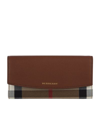 Burberry Porter House Check And Leather Continental Wallet In Brown