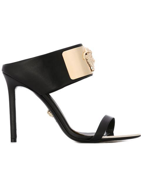 Versace Medusa-head Banded Leather Slide Sandal In Black/gold
