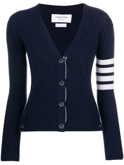Thom Browne Intarsia Stripes Cashmere Cardigan, Navy In Blue
