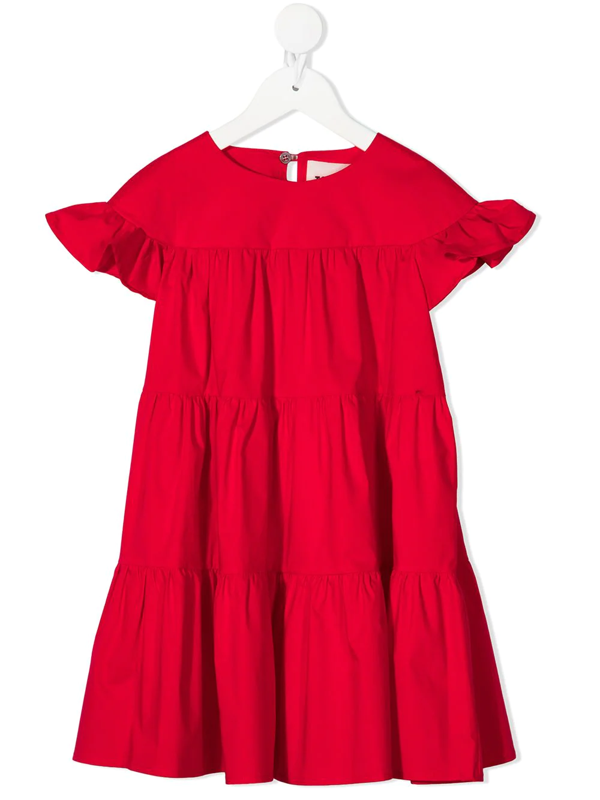 Touriste Teen Ruffled Tiered Dress In Red