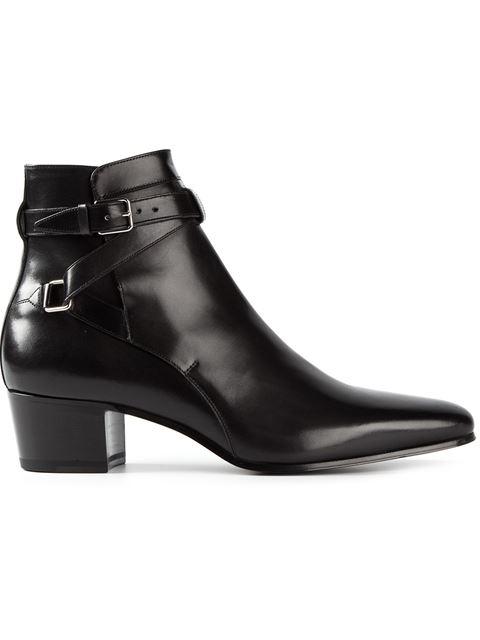 Saint Laurent Blake 40 Leather Johdpur Ankle Boots In Black