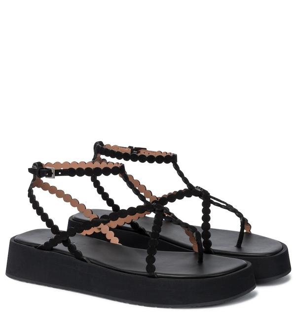 Alaïa Dot Leather Ankle-strap Platform Sandals In 999 Noir