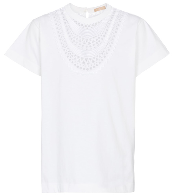Alaïa Openwork Necklace-embroidered Cotton T-shirt In Blanc